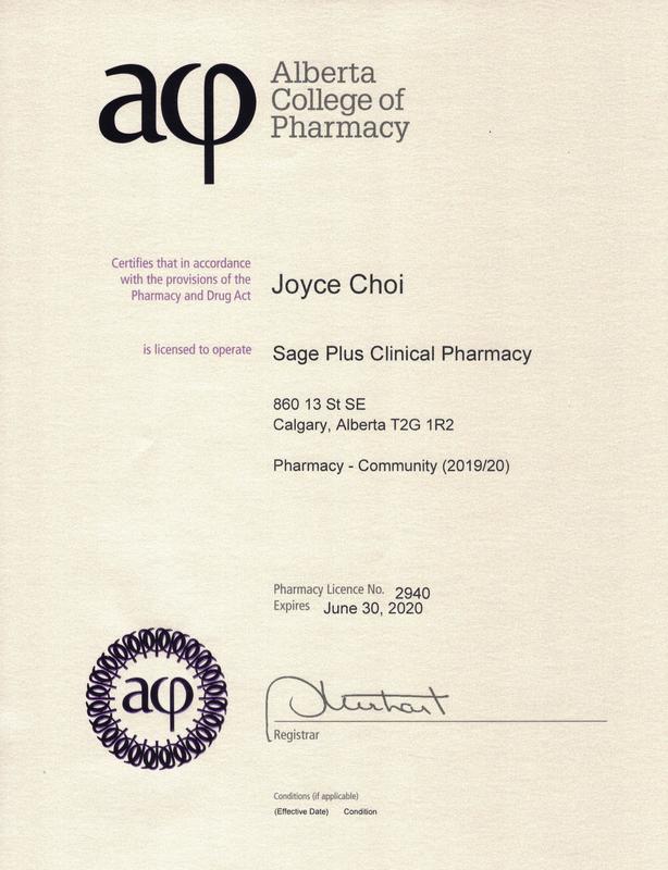 Sage Plus Pharmacy License Document